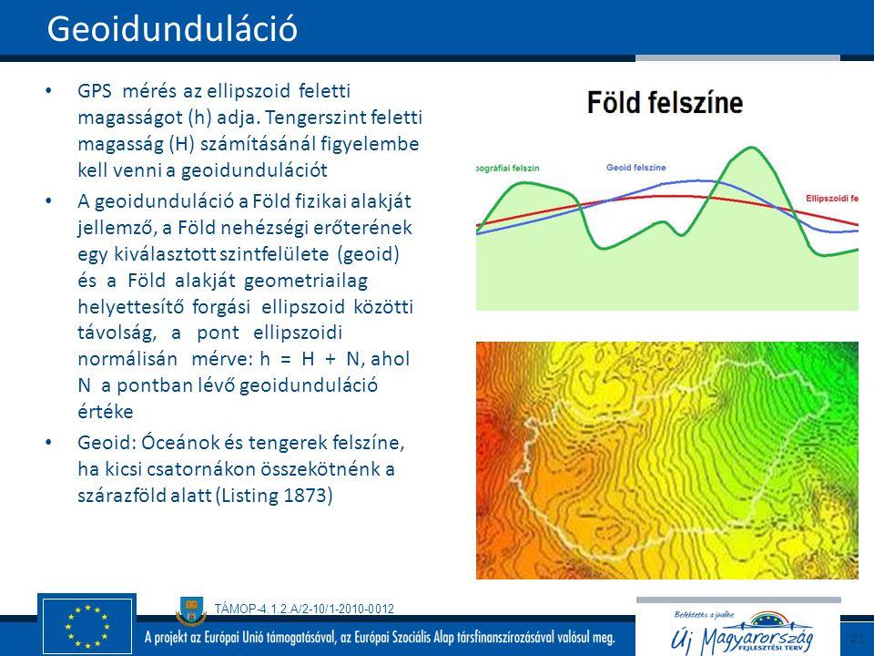 TÁMOP-4.1.2.A/2-10/1-2010-0012 GPS mérés az ellipszoid feletti magasságot (h) adja. Tengerszint feletti magasság (H) számításánál figyelembe kell venn