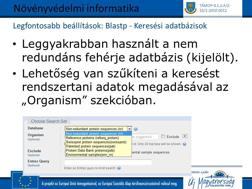 TÁMOP-4.1.2.A/2- 10/1-2010-0012 Legfontosabb beállítások: Blastp - Keresési adatbázisok Leggyakrabban használt a nem redundáns fehérje adatbázis (kije