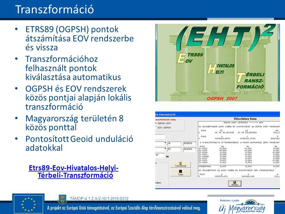 TÁMOP-4.1.2.A/2-10/1-2010-0012 ETRS89 (OGPSH) pontok átszámítása EOV rendszerbe és vissza Transzformációhoz felhasznált pontok kiválasztása automatikus OGPSH és EOV rendszerek közös pontjai alapján lokális transzformáció Magyarország területén 8 közös ponttal Pontosított Geoid unduláció adatokkal Etrs89-Eov-Hivatalos-Helyi- Térbeli-Transzformáció Transzformáció 24