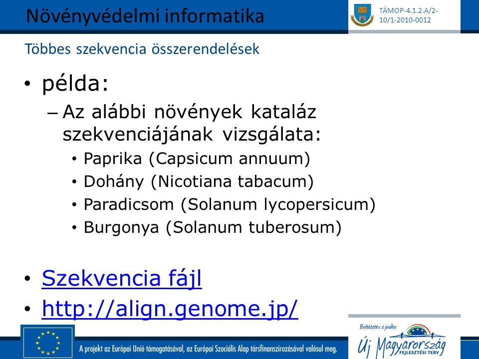 TÁMOP-4.1.2.A/2- 10/1-2010-0012 Többes szekvencia összerendelések példa: – Az alábbi növények kataláz szekvenciájának vizsgálata: Paprika (Capsicum annuum) Dohány (Nicotiana tabacum) Paradicsom (Solanum lycopersicum) Burgonya (Solanum tuberosum) Szekvencia fájl http://align.genome.jp/ Növényvédelmi informatika