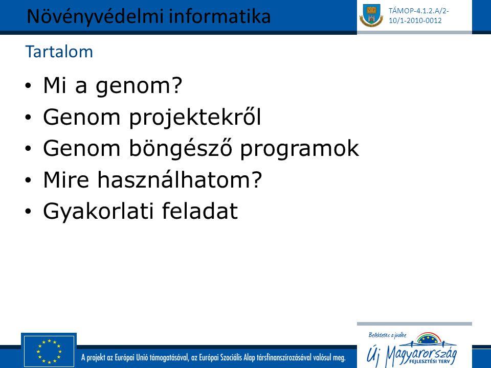TÁMOP-4.1.2.A/2- 10/1-2010-0012 Tartalom Mi a genom? Genom projektekről Genom böngésző programok Mire használhatom? Gyakorlati feladat Növényvédelmi i