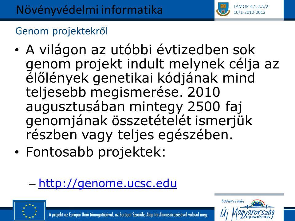 TÁMOP-4.1.2.A/2- 10/1-2010-0012 Genom projektekről A világon az utóbbi évtizedben sok genom projekt indult melynek célja az élőlények genetikai kódján
