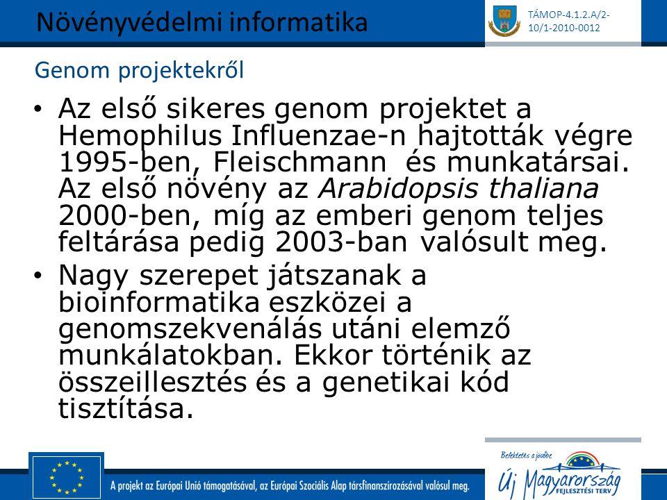 TÁMOP-4.1.2.A/2- 10/1-2010-0012 Genom projektekről Az első sikeres genom projektet a Hemophilus Influenzae-n hajtották végre 1995-ben, Fleischmann és munkatársai.