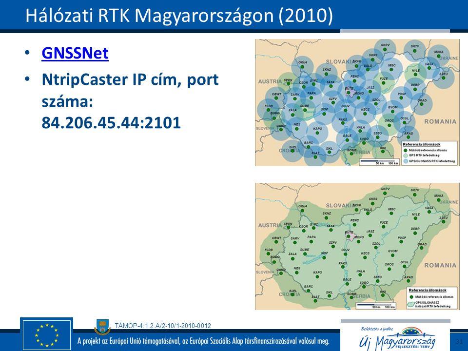TÁMOP-4.1.2.A/2-10/1-2010-0012 GNSSNet NtripCaster IP cím, port száma: 84.206.45.44:2101 Hálózati RTK Magyarországon (2010) 31