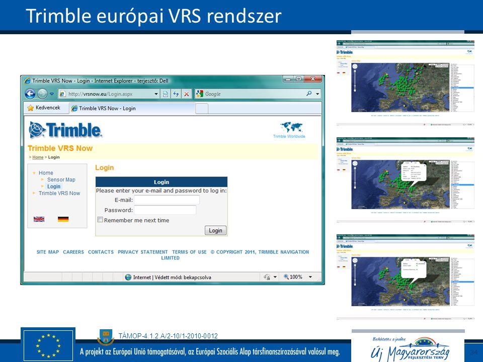 TÁMOP-4.1.2.A/2-10/1-2010-0012 Trimble európai VRS rendszer 34