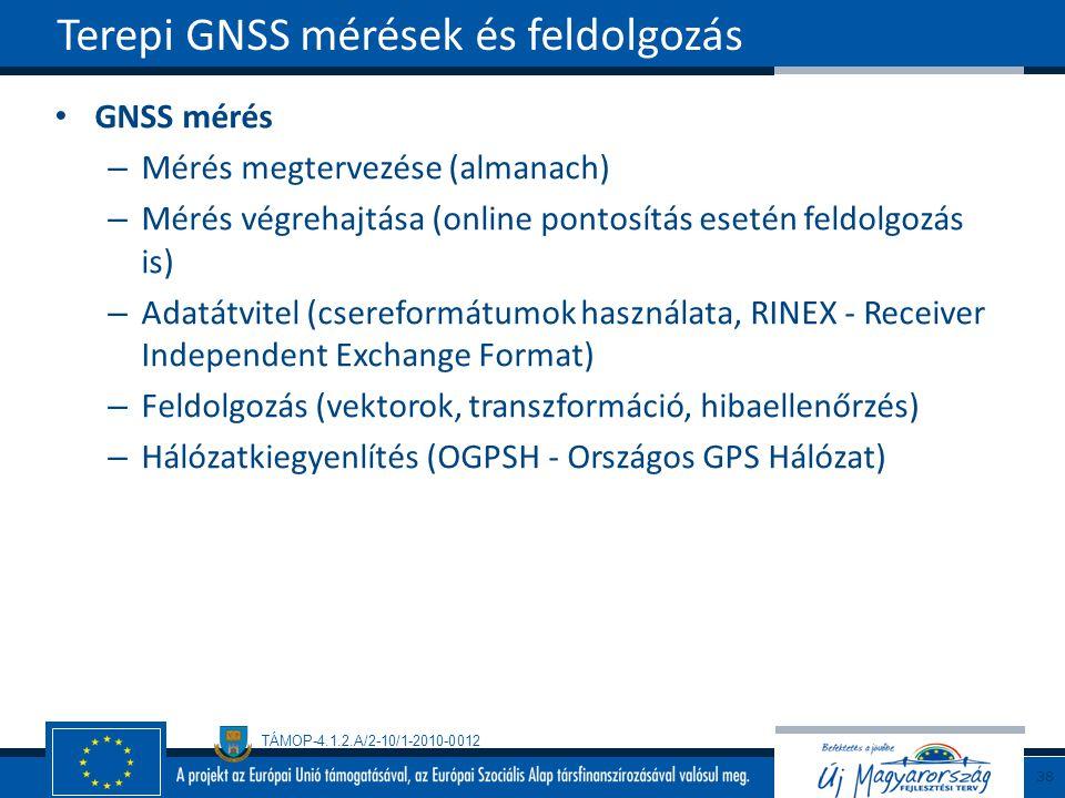 TÁMOP-4.1.2.A/2-10/1-2010-0012 GNSS mérés – Mérés megtervezése (almanach) – Mérés végrehajtása (online pontosítás esetén feldolgozás is) – Adatátvitel (csereformátumok használata, RINEX - Receiver Independent Exchange Format) – Feldolgozás (vektorok, transzformáció, hibaellenőrzés) – Hálózatkiegyenlítés (OGPSH - Országos GPS Hálózat) Terepi GNSS mérések és feldolgozás 38