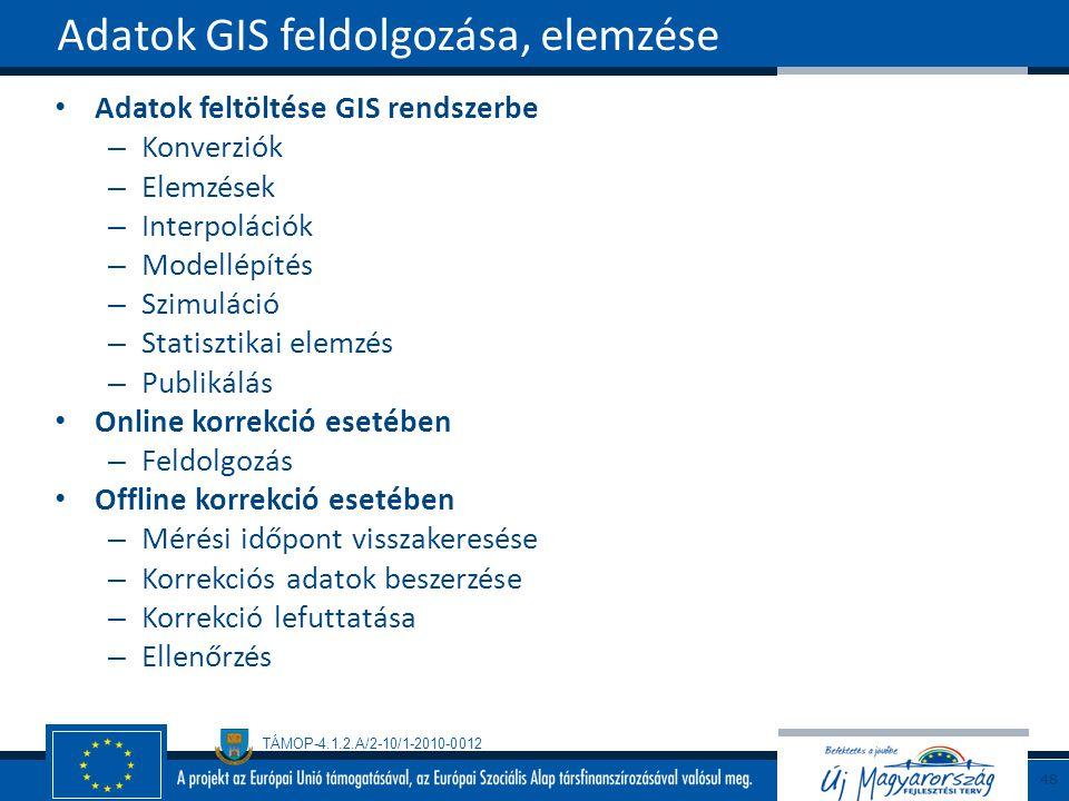 TÁMOP-4.1.2.A/2-10/1-2010-0012 Adatok feltöltése GIS rendszerbe – Konverziók – Elemzések – Interpolációk – Modellépítés – Szimuláció – Statisztikai elemzés – Publikálás Online korrekció esetében – Feldolgozás Offline korrekció esetében – Mérési időpont visszakeresése – Korrekciós adatok beszerzése – Korrekció lefuttatása – Ellenőrzés Adatok GIS feldolgozása, elemzése 48