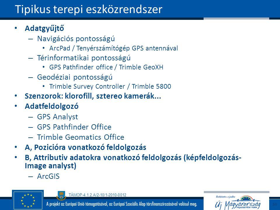 TÁMOP-4.1.2.A/2-10/1-2010-0012 Adatgyűjtő – Navigációs pontosságú ArcPad / Tenyérszámítógép GPS antennával – Térinformatikai pontosságú GPS Pathfinder office / Trimble GeoXH – Geodéziai pontosságú Trimble Survey Controller / Trimble 5800 Szenzorok: klorofill, sztereo kamerák...