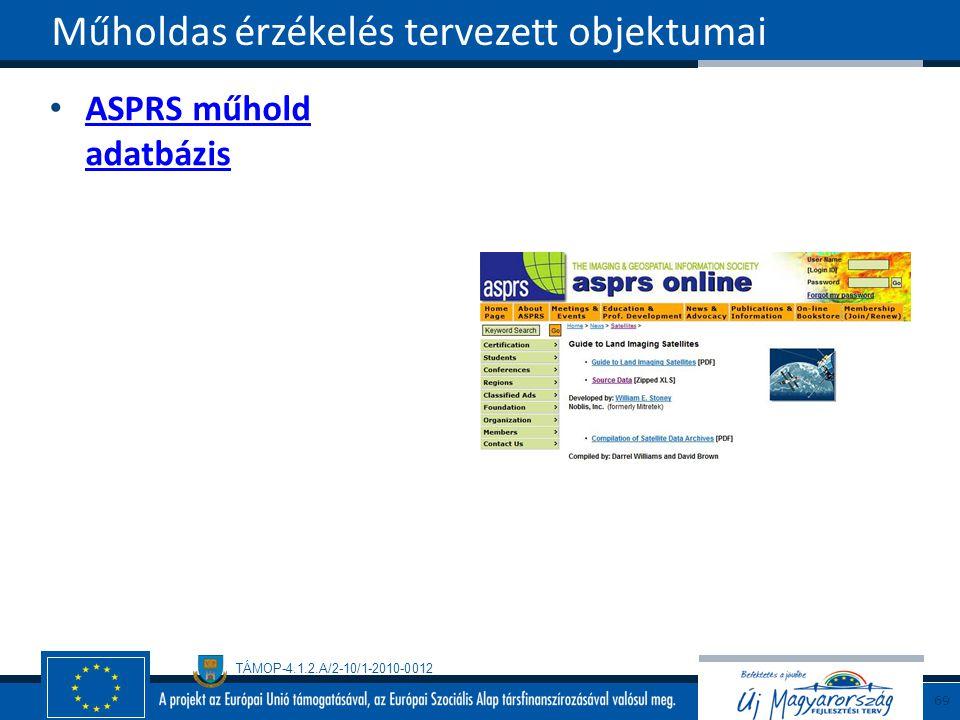 TÁMOP-4.1.2.A/2-10/1-2010-0012 ASPRS műhold adatbázis ASPRS műhold adatbázis Műholdas érzékelés tervezett objektumai 69