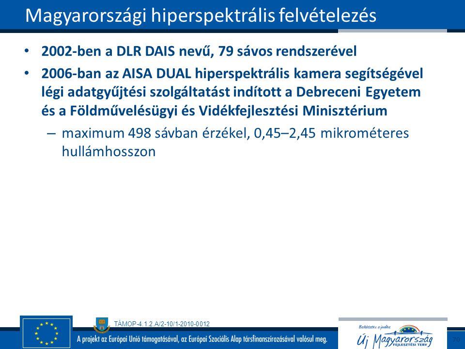 TÁMOP-4.1.2.A/2-10/1-2010-0012 2002-ben a DLR DAIS nevű, 79 sávos rendszerével 2006-ban az AISA DUAL hiperspektrális kamera segítségével légi adatgyűjtési szolgáltatást indított a Debreceni Egyetem és a Földművelésügyi és Vidékfejlesztési Minisztérium – maximum 498 sávban érzékel, 0,45–2,45 mikrométeres hullámhosszon Magyarországi hiperspektrális felvételezés 70