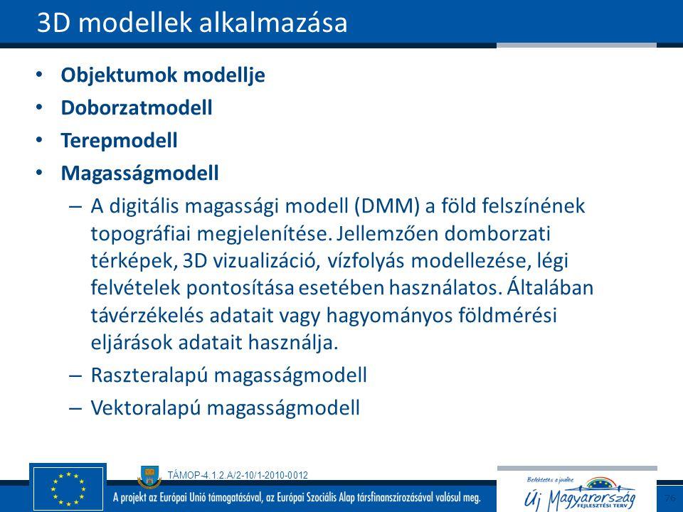 TÁMOP-4.1.2.A/2-10/1-2010-0012 Objektumok modellje Doborzatmodell Terepmodell Magasságmodell – A digitális magassági modell (DMM) a föld felszínének topográfiai megjelenítése.