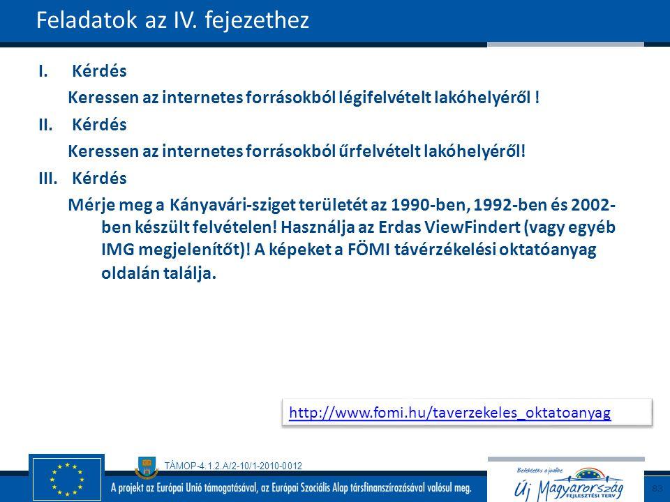 TÁMOP-4.1.2.A/2-10/1-2010-0012 I.Kérdés Keressen az internetes forrásokból légifelvételt lakóhelyéről .