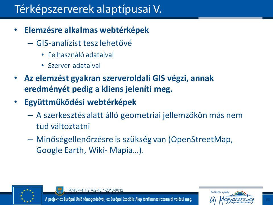 TÁMOP-4.1.2.A/2-10/1-2010-0012 Elemzésre alkalmas webtérképek – GIS-analízist tesz lehetővé Felhasználó adataival Szerver adataival Az elemzést gyakran szerveroldali GIS végzi, annak eredményét pedig a kliens jeleníti meg.