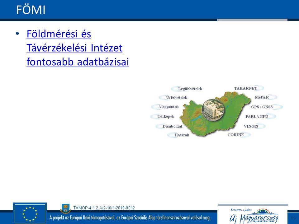 TÁMOP-4.1.2.A/2-10/1-2010-0012 Földmérési és Távérzékelési Intézet fontosabb adatbázisai Földmérési és Távérzékelési Intézet fontosabb adatbázisai FÖMI 89