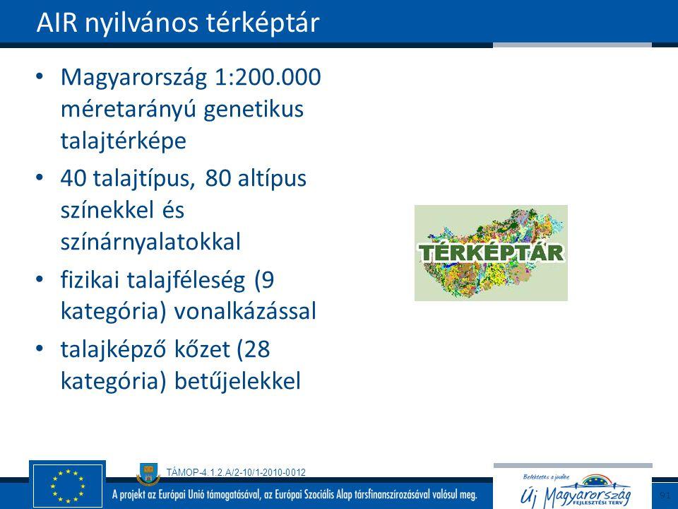 TÁMOP-4.1.2.A/2-10/1-2010-0012 Magyarország 1:200.000 méretarányú genetikus talajtérképe 40 talajtípus, 80 altípus színekkel és színárnyalatokkal fizikai talajféleség (9 kategória) vonalkázással talajképző kőzet (28 kategória) betűjelekkel AIR nyilvános térképtár 91