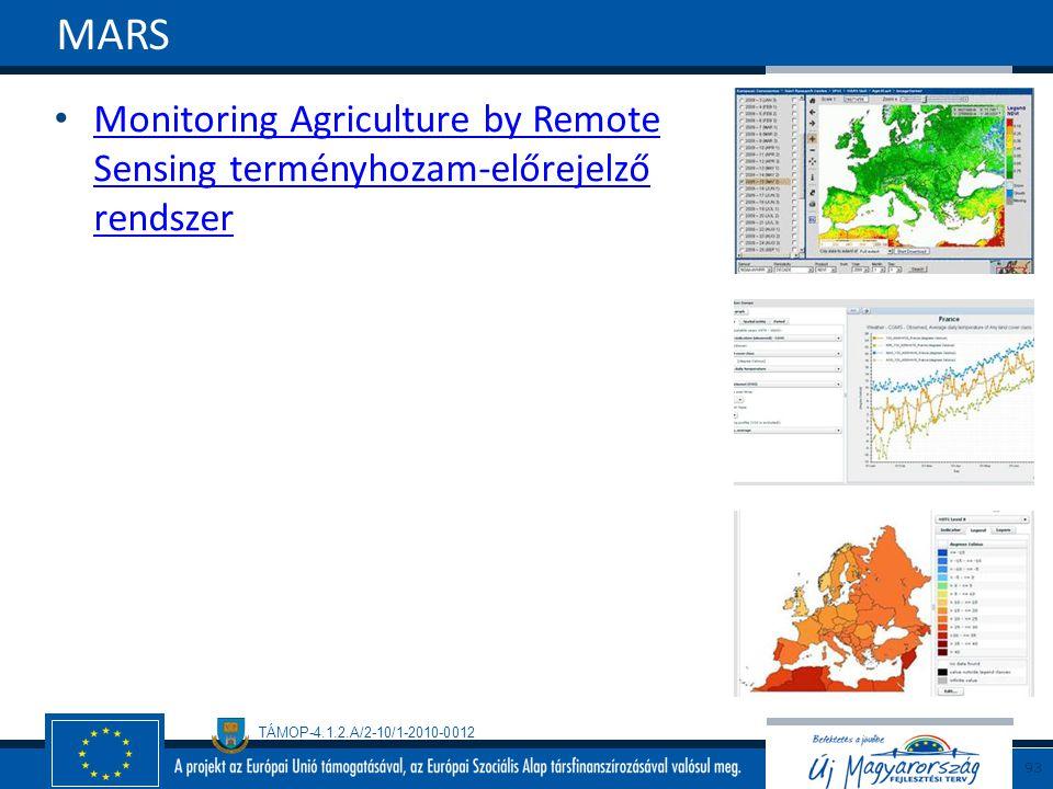 TÁMOP-4.1.2.A/2-10/1-2010-0012 Monitoring Agriculture by Remote Sensing terményhozam-előrejelző rendszer Monitoring Agriculture by Remote Sensing term