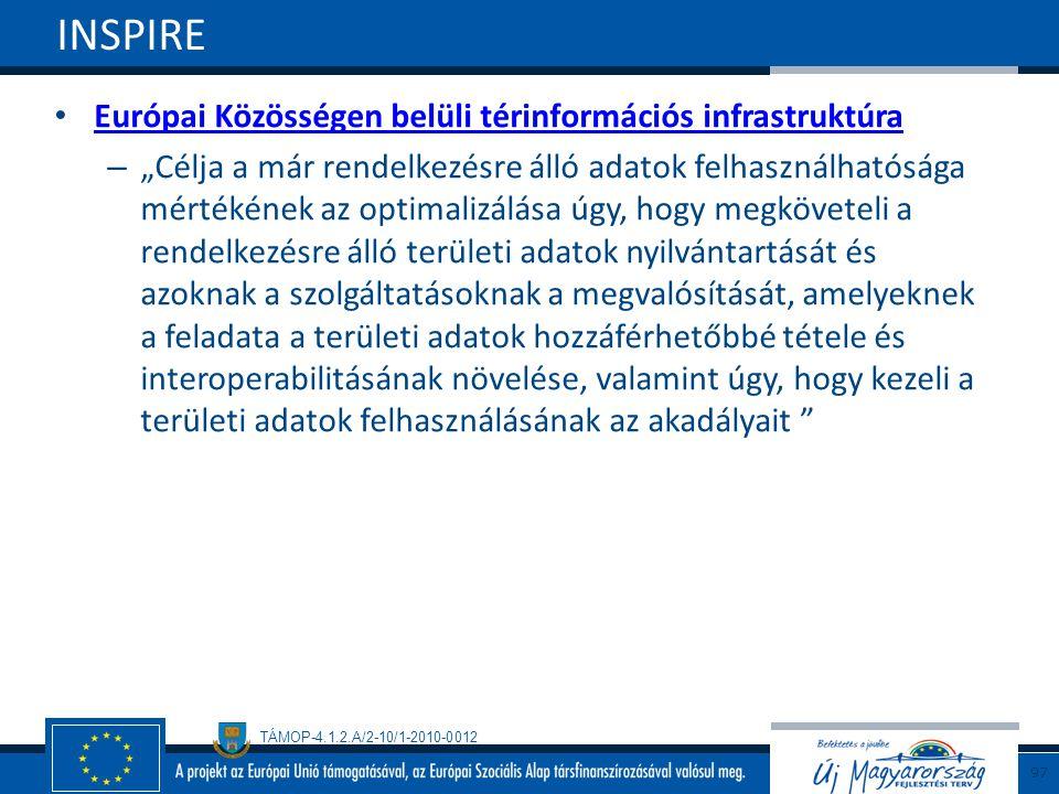 """TÁMOP-4.1.2.A/2-10/1-2010-0012 Európai Közösségen belüli térinformációs infrastruktúra – """"Célja a már rendelkezésre álló adatok felhasználhatósága mér"""