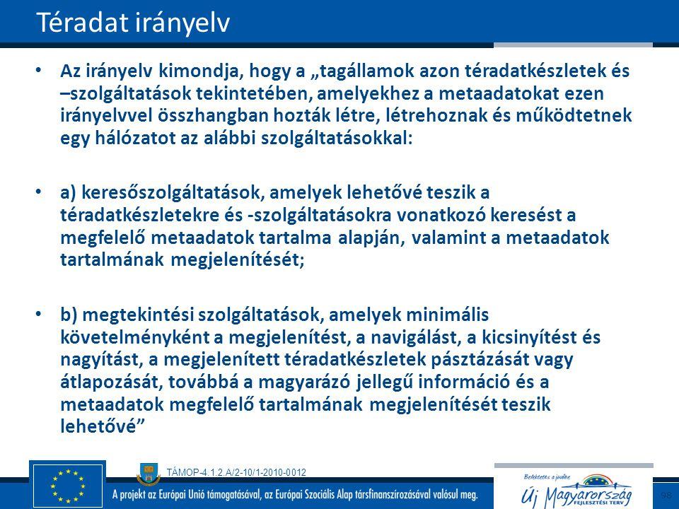 """TÁMOP-4.1.2.A/2-10/1-2010-0012 Az irányelv kimondja, hogy a """"tagállamok azon téradatkészletek és –szolgáltatások tekintetében, amelyekhez a metaadatok"""