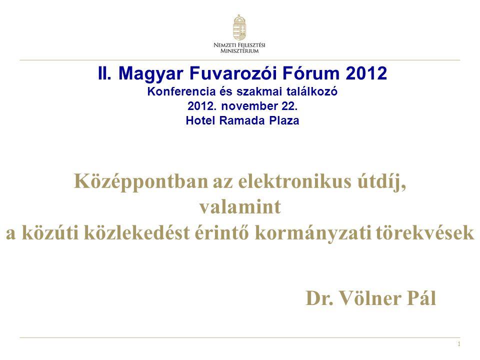 2 Az elektronikus útdíj (ED) bevezetése hazánkban A Kormány ED-re vonatkozó 2012.
