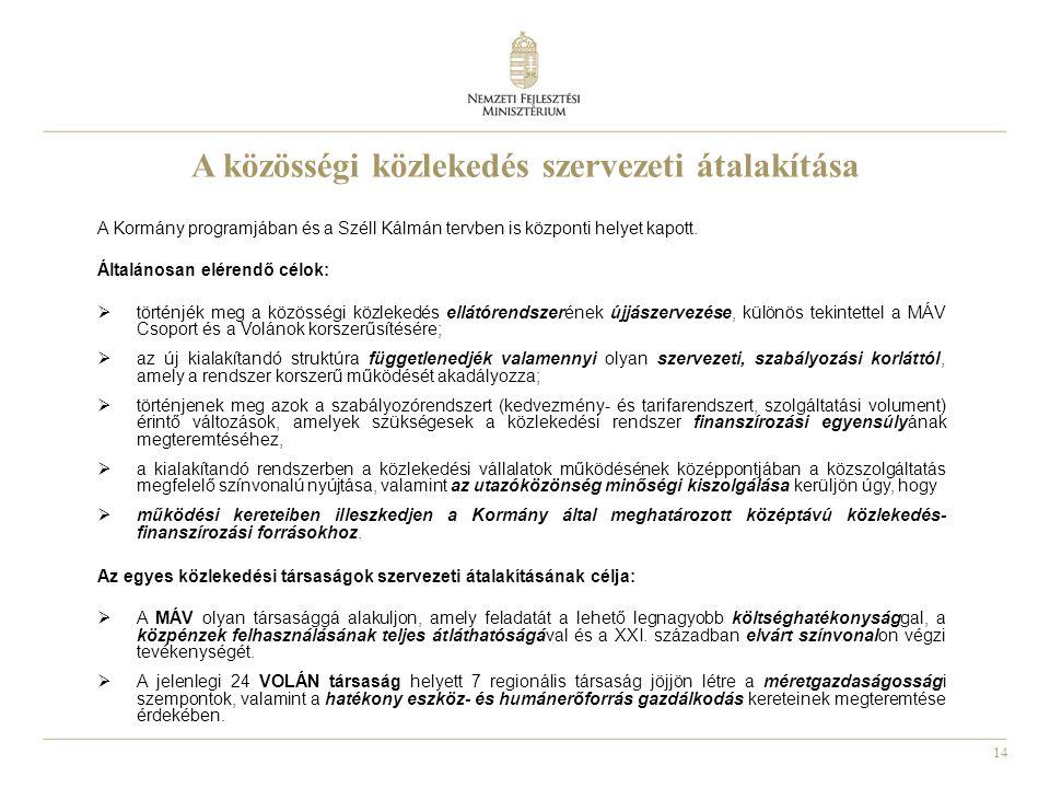 14 A közösségi közlekedés szervezeti átalakítása A Kormány programjában és a Széll Kálmán tervben is központi helyet kapott.