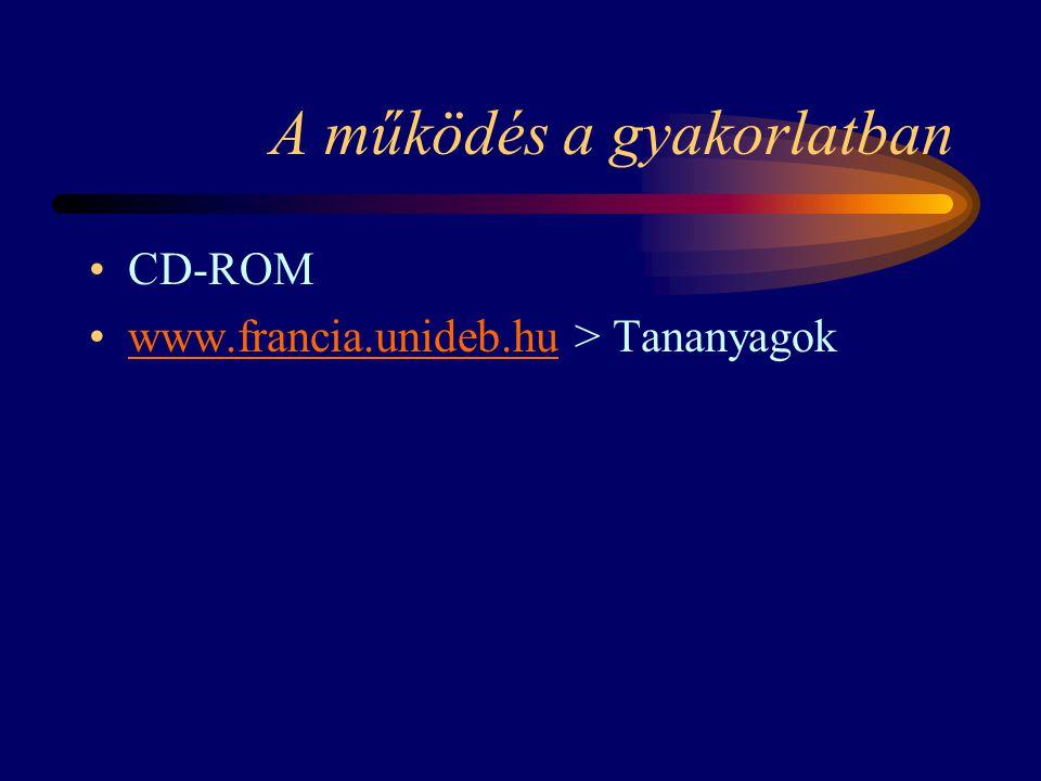 A működés a gyakorlatban CD-ROM www.francia.unideb.hu > Tananyagokwww.francia.unideb.hu