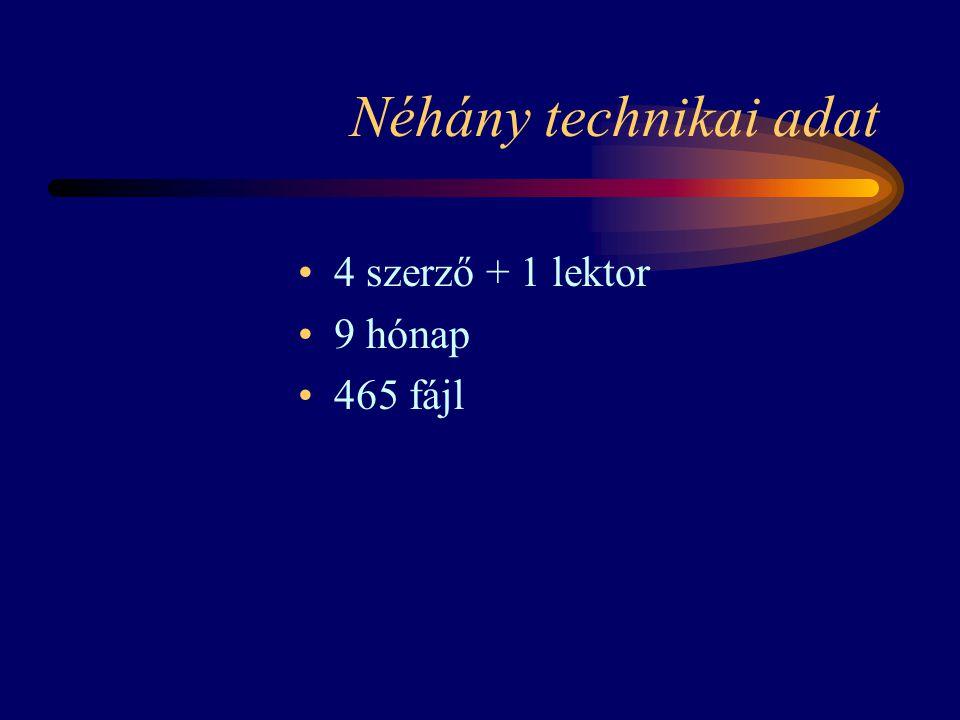 Néhány technikai adat 4 szerző + 1 lektor 9 hónap 465 fájl