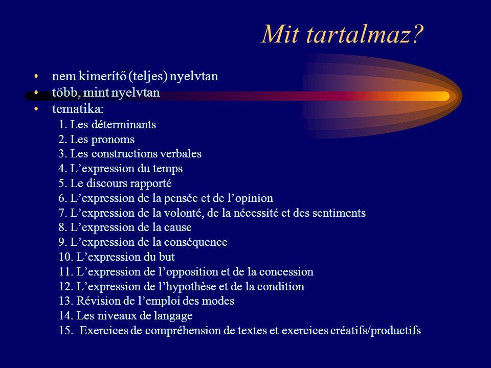 Mit tartalmaz? nem kimerítő (teljes) nyelvtan több, mint nyelvtan tematika: 1. Les déterminants 2. Les pronoms 3. Les constructions verbales 4. L'expr