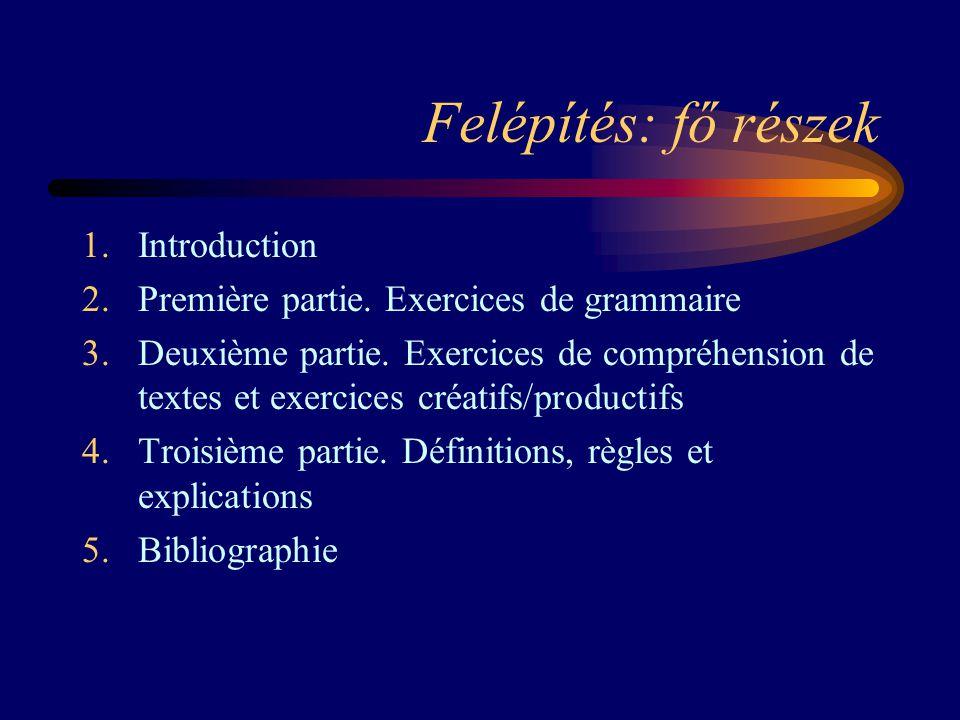 Felépítés: fő részek 1.Introduction 2.Première partie. Exercices de grammaire 3.Deuxième partie. Exercices de compréhension de textes et exercices cré