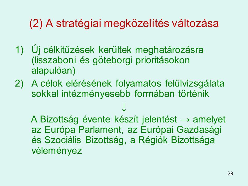 28 (2) A stratégiai megközelítés változása 1)Új célkitűzések kerültek meghatározásra (lisszaboni és göteborgi prioritásokon alapulóan) 2)A célok eléré