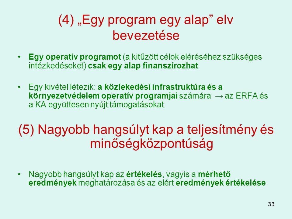 """33 (4) """"Egy program egy alap"""" elv bevezetése Egy operatív programot (a kitűzött célok eléréséhez szükséges intézkedéseket) csak egy alap finanszírozha"""