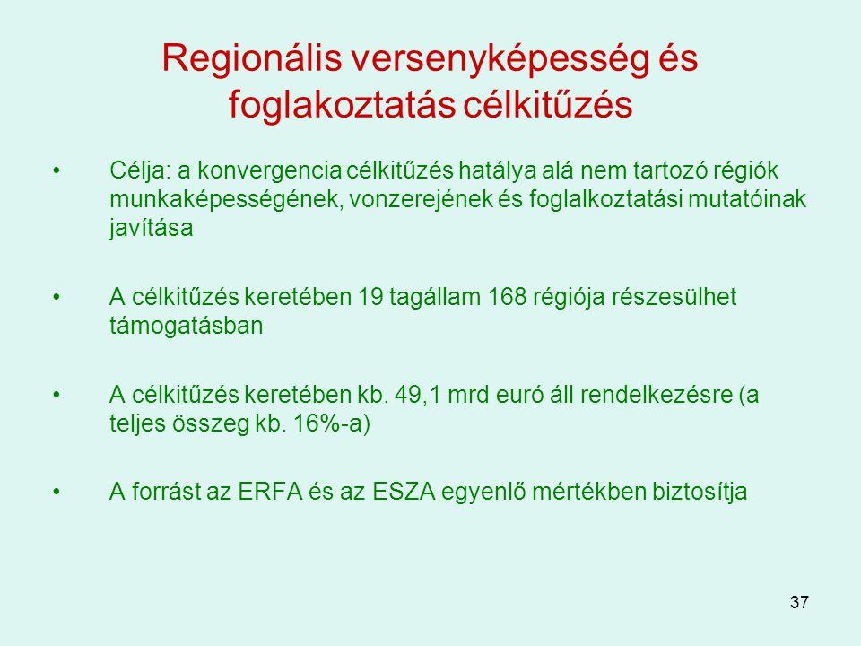 37 Regionális versenyképesség és foglakoztatás célkitűzés Célja: a konvergencia célkitűzés hatálya alá nem tartozó régiók munkaképességének, vonzerejé