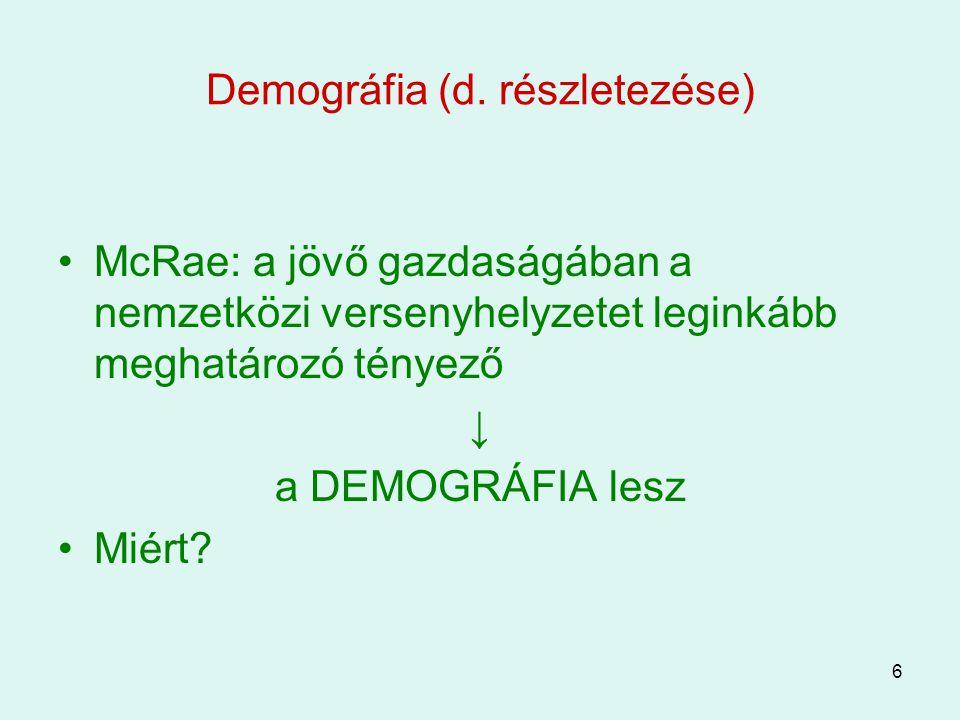6 Demográfia (d. részletezése) McRae: a jövő gazdaságában a nemzetközi versenyhelyzetet leginkább meghatározó tényező ↓ a DEMOGRÁFIA lesz Miért?