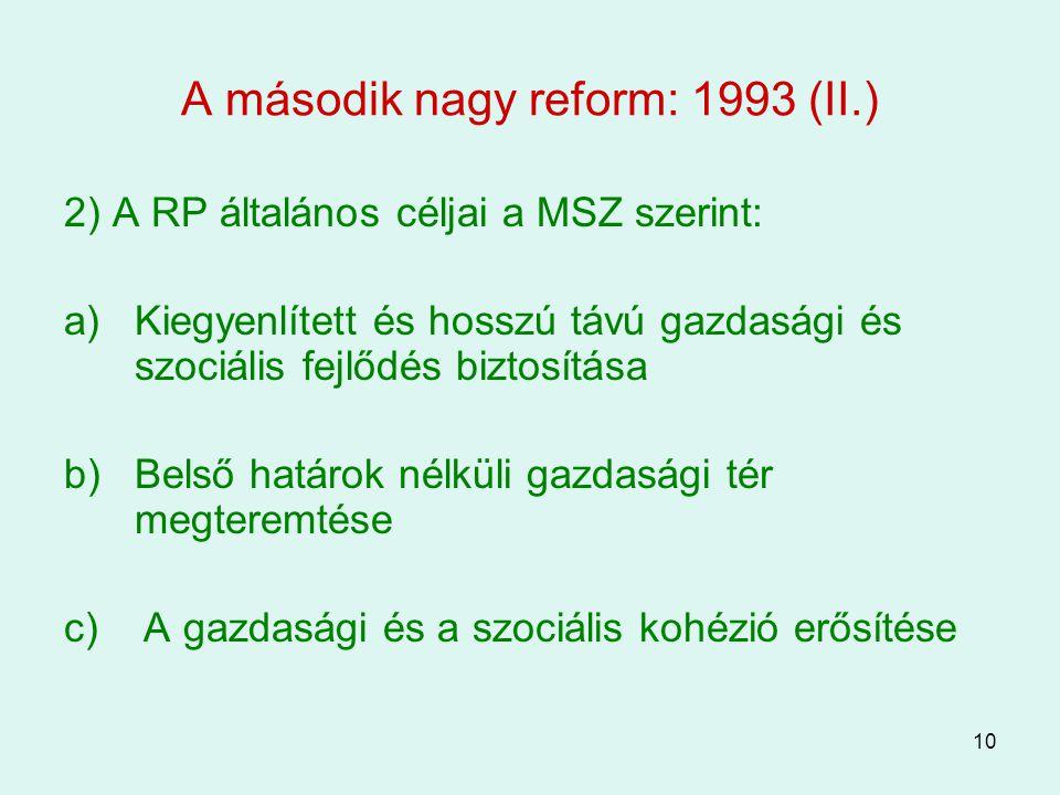10 A második nagy reform: 1993 (II.) 2) A RP általános céljai a MSZ szerint: a)Kiegyenlített és hosszú távú gazdasági és szociális fejlődés biztosítás