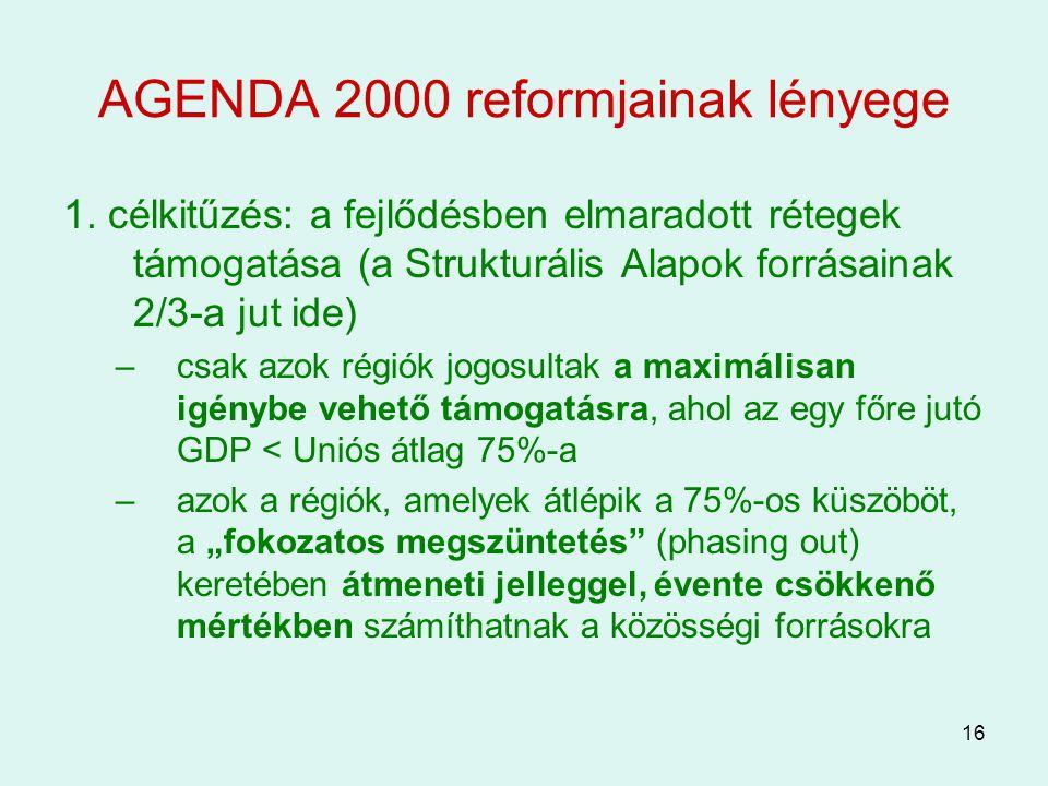 16 AGENDA 2000 reformjainak lényege 1. célkitűzés: a fejlődésben elmaradott rétegek támogatása (a Strukturális Alapok forrásainak 2/3-a jut ide) –csak