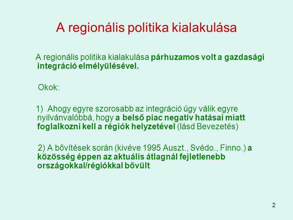 2 A regionális politika kialakulása A regionális politika kialakulása párhuzamos volt a gazdasági integráció elmélyülésével. Okok: 1) Ahogy egyre szor