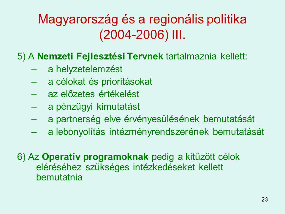 23 Magyarország és a regionális politika (2004-2006) III. 5) A Nemzeti Fejlesztési Tervnek tartalmaznia kellett: –a helyzetelemzést –a célokat és prio