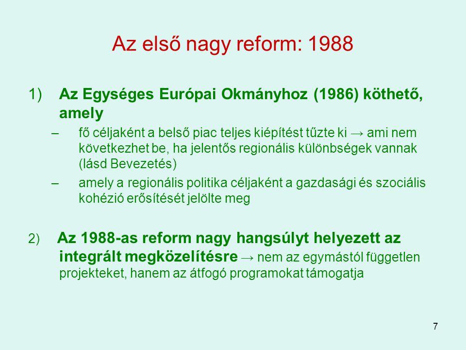 7 Az első nagy reform: 1988 1) Az Egységes Európai Okmányhoz (1986) köthető, amely –fő céljaként a belső piac teljes kiépítést tűzte ki → ami nem köve