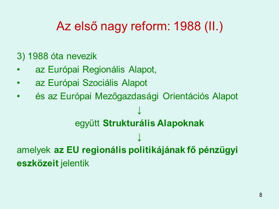 9 A második nagy reform: 1993 1)A Maastrichti Szerződéshez (MSZ-1992) köthető –az Európai Uniót létrehozó szerződés –egyik legfontosabb cél: Gazdasági és Monetáris Unió létrehozása ↓ ehhez elengedhetetlen a fejlett regionális politika