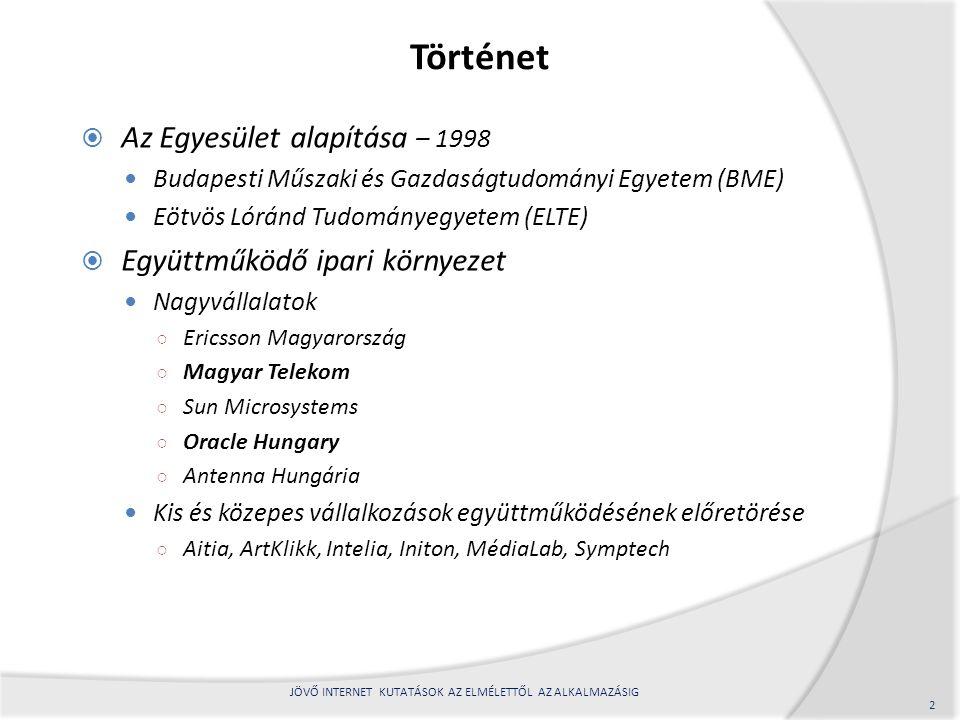 Történet  Az Egyesület alapítása – 1998 Budapesti Műszaki és Gazdaságtudományi Egyetem (BME) Eötvös Lóránd Tudományegyetem (ELTE)  Együttműködő ipar