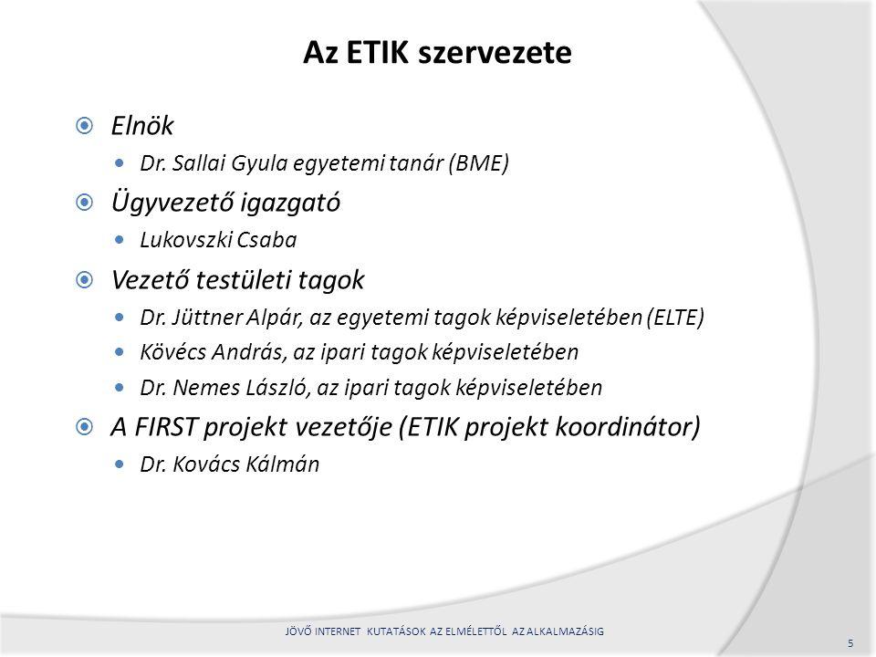 Az ETIK szervezete  Elnök Dr.