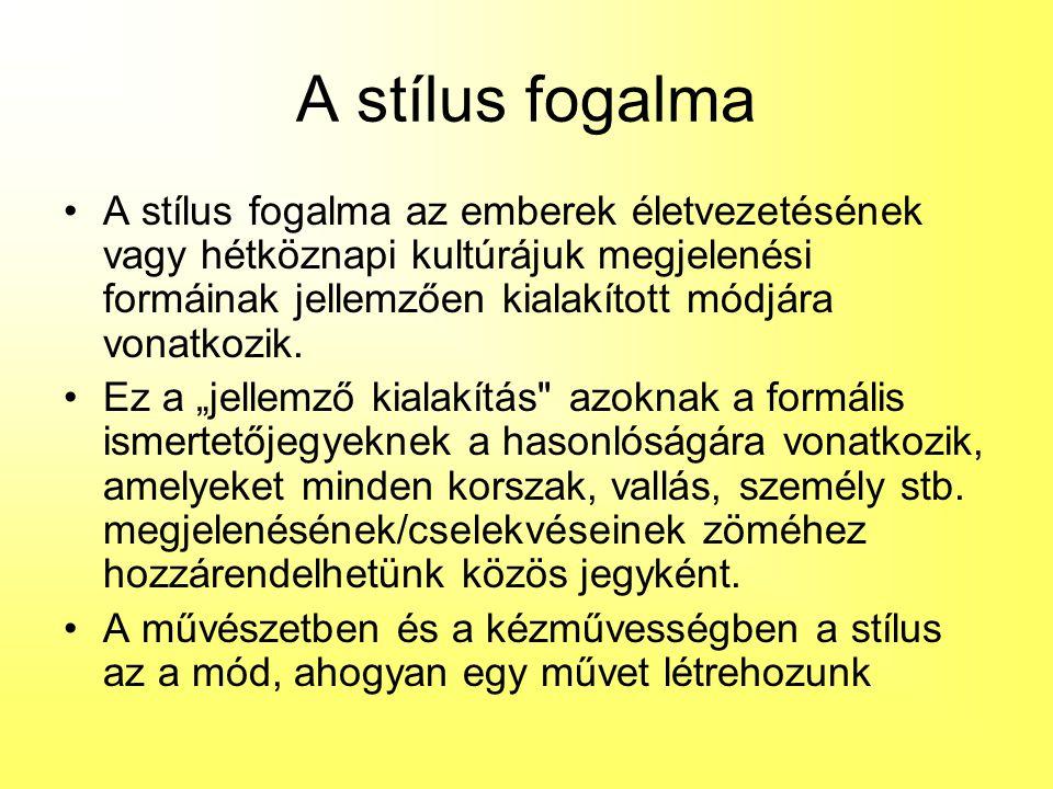 A stílus fogalma A stílus fogalma az emberek életvezetésének vagy hétköznapi kultúrájuk megjelenési formáinak jellemzően kialakított módjára vonatkozi