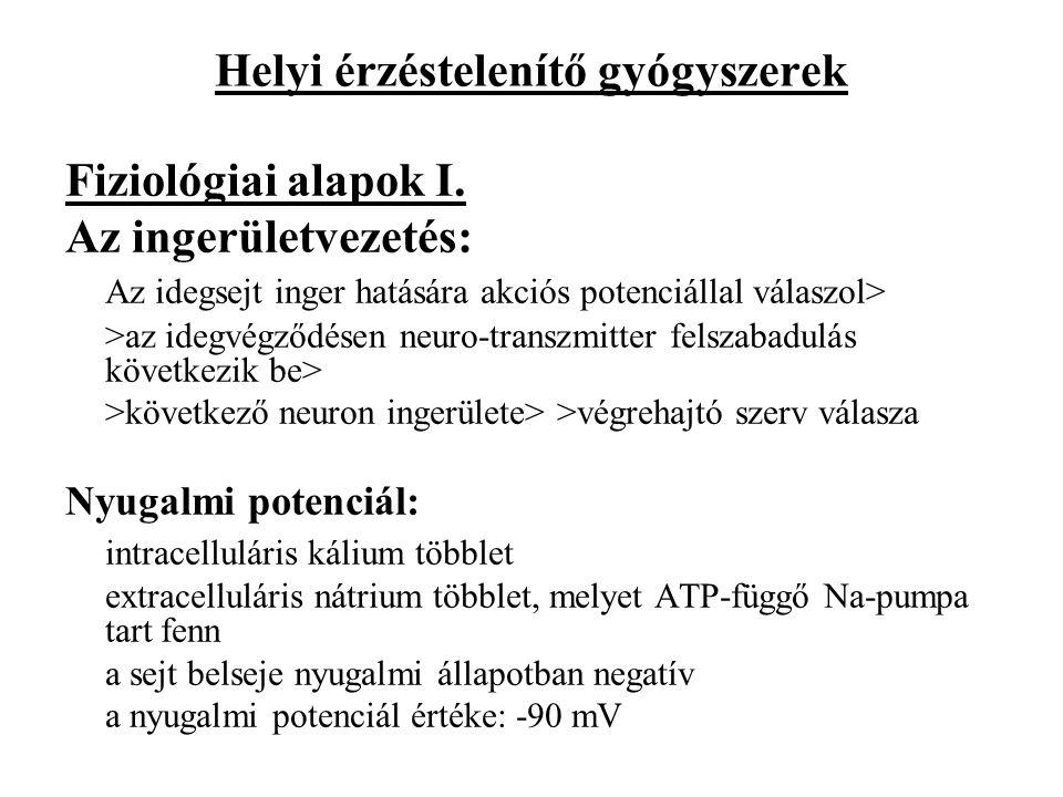 Helyi érzéstelenítő gyógyszerek Fiziológiai alapok I. Az ingerületvezetés: Az idegsejt inger hatására akciós potenciállal válaszol> >az idegvégződésen