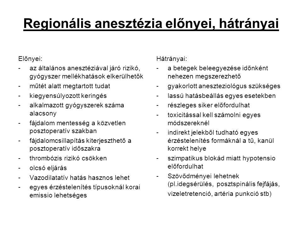 Regionális anesztézia előnyei, hátrányai Előnyei: -az általános anesztéziával járó rizikó, gyógyszer mellékhatások elkerülhetők -műtét alatt megtartot