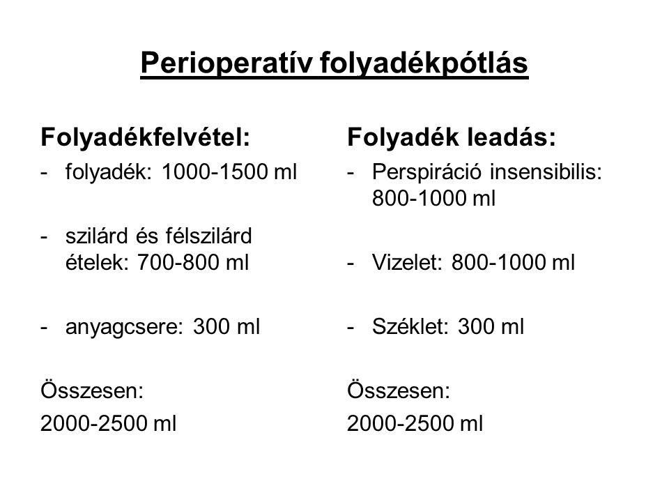 Perioperatív folyadékpótlás Folyadékfelvétel: -folyadék: 1000-1500 ml -szilárd és félszilárd ételek: 700-800 ml -anyagcsere: 300 ml Összesen: 2000-250