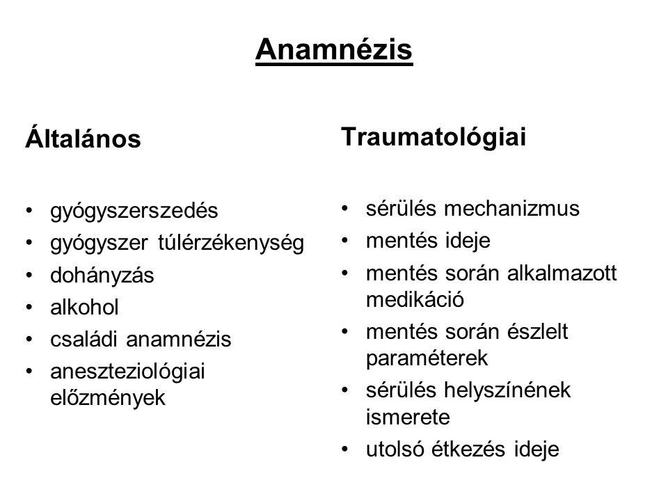 Anamnézis Általános gyógyszerszedés gyógyszer túlérzékenység dohányzás alkohol családi anamnézis aneszteziológiai előzmények Traumatológiai sérülés me