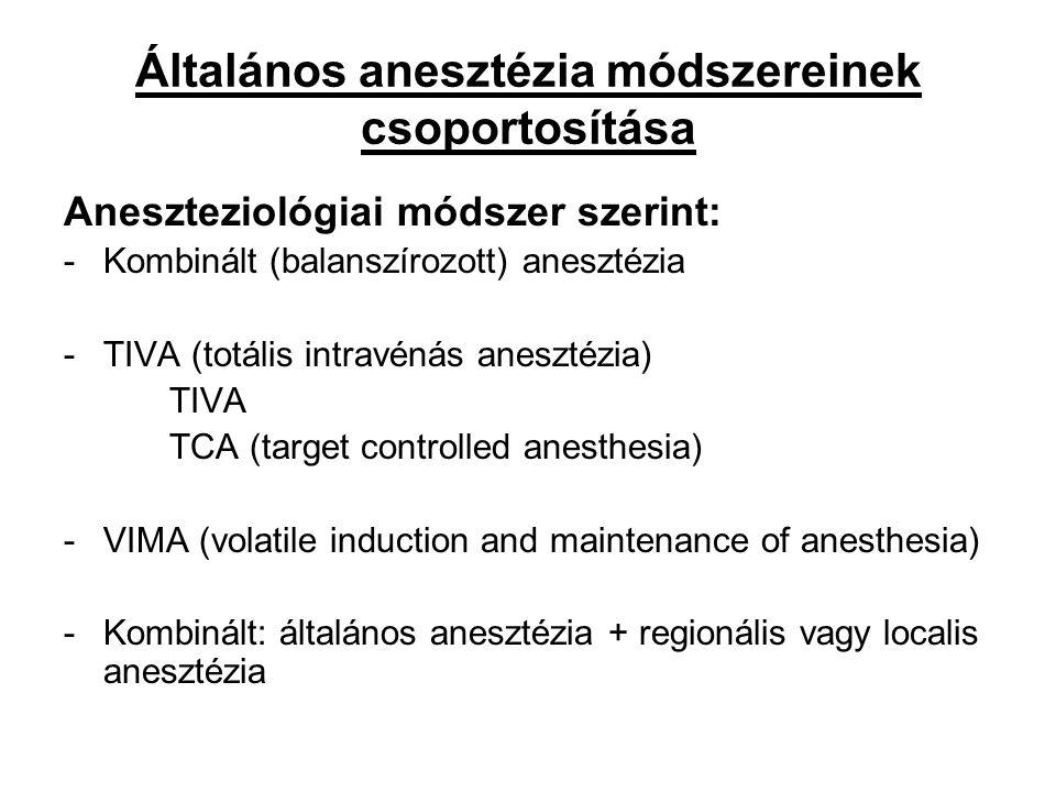 Általános anesztézia módszereinek csoportosítása Aneszteziológiai módszer szerint: -Kombinált (balanszírozott) anesztézia -TIVA (totális intravénás an