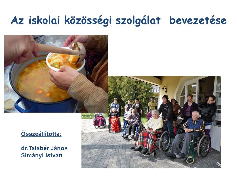 1 Az iskolai közösségi szolgálat bevezetése Összeállította: dr.Talabér János Simányi István