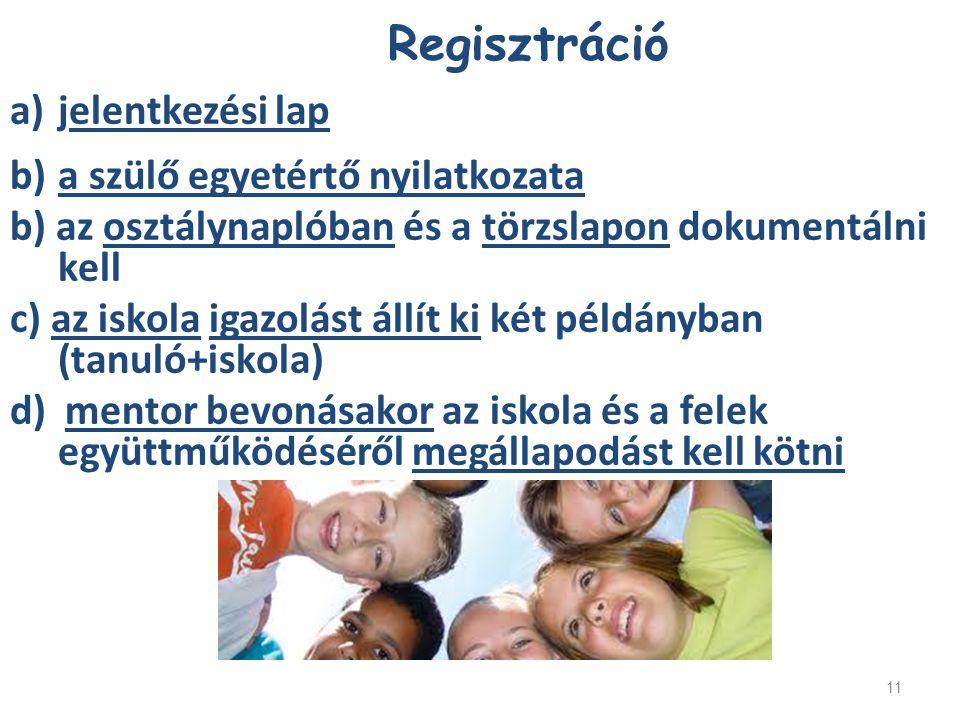 11 Regisztráció a)jelentkezési lap b)a szülő egyetértő nyilatkozata b) az osztálynaplóban és a törzslapon dokumentálni kell c) az iskola igazolást áll