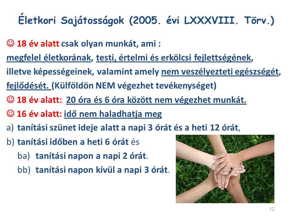 Életkori Sajátosságok (2005. évi LXXXVIII. Törv.) 18 év alatt csak olyan munkát, ami : megfelel életkorának, testi, értelmi és erkölcsi fejlettségének