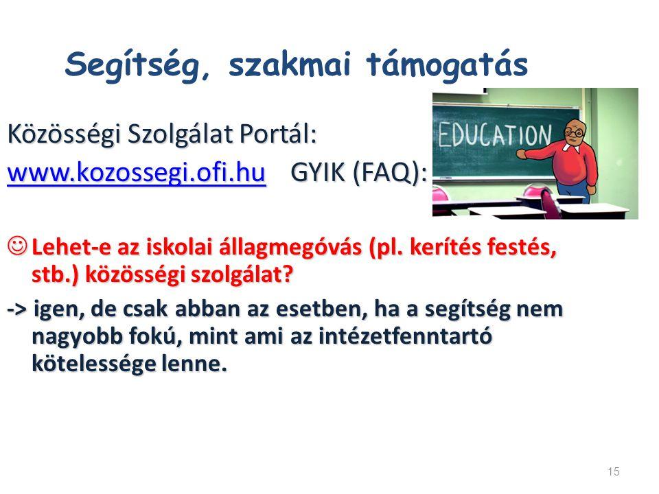 15 Közösségi Szolgálat Portál: www.kozossegi.ofi.huwww.kozossegi.ofi.hu GYIK (FAQ): www.kozossegi.ofi.hu Lehet-e az iskolai állagmegóvás (pl. kerítés